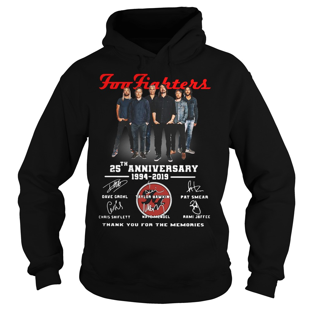 Foo Fighters 25th Anniversary 1994 2019 Thank You For The Memories Hoodie