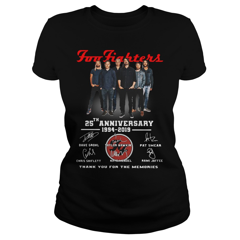 Foo Fighters 25th Anniversary 1994 2019 Thank You For The Memories Ladies Shirt