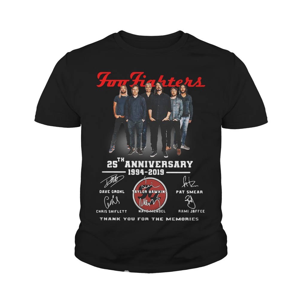 Foo Fighters 25th Anniversary 1994 2019 Thank You For The Memories Youth Shirt