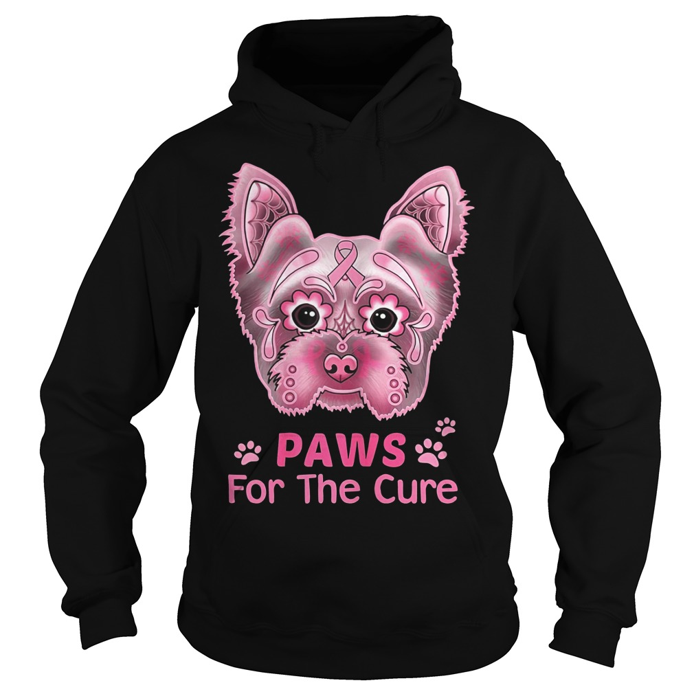 Breast Cancer Awareness Paws For The Cure Boston Terrier Shirt hoodie