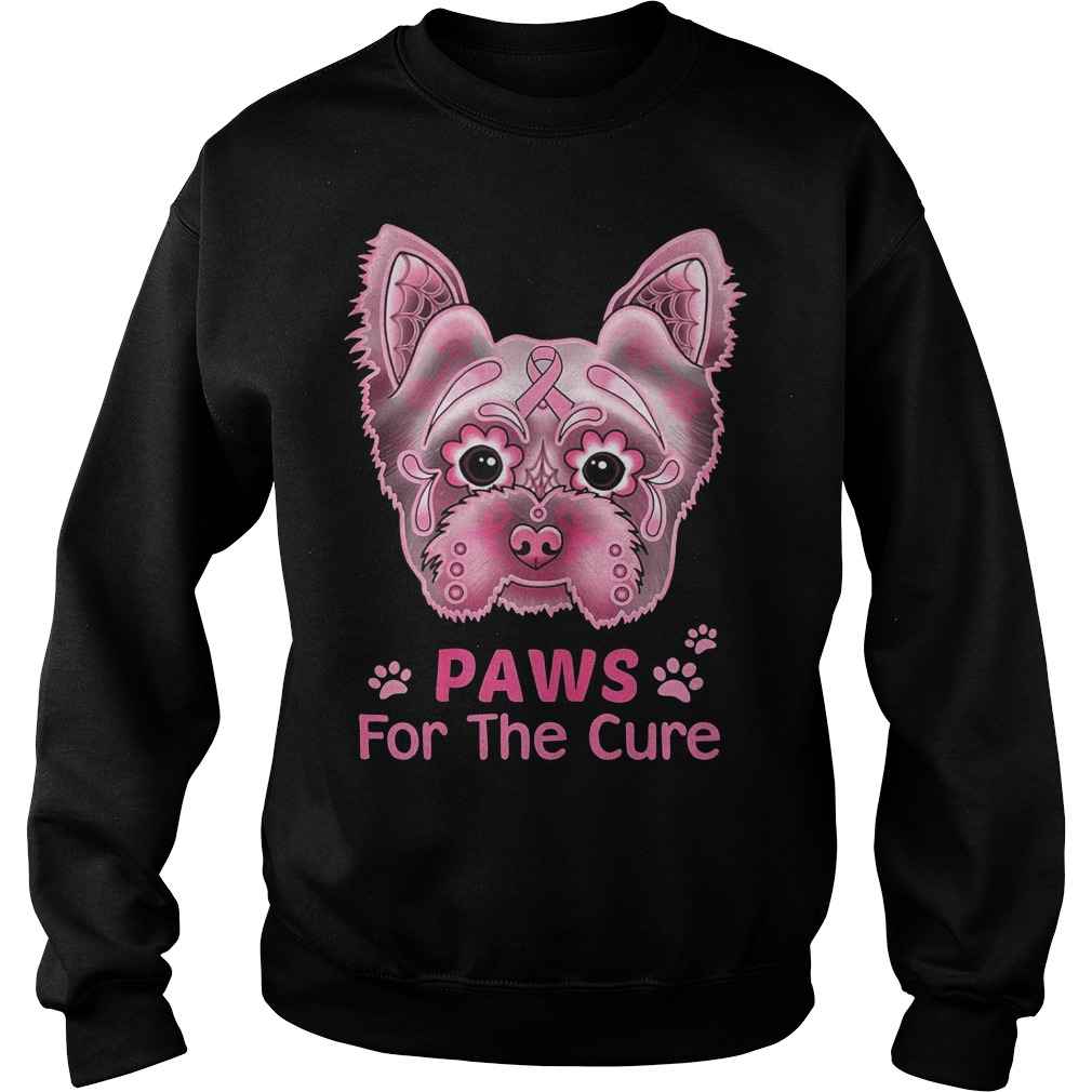Breast Cancer Awareness Paws For The Cure Boston Terrier Shirt sweater