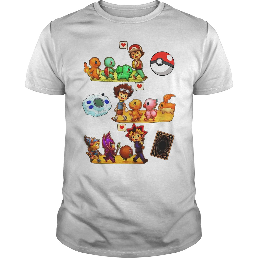 Pokemon Digimon Yugioh Childhood Guys Shirt