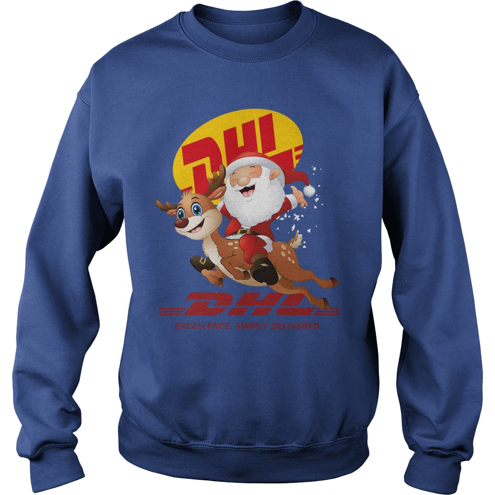 Santa Claus Riding Reindeer DHL Excellence Simply Delivered Sweater