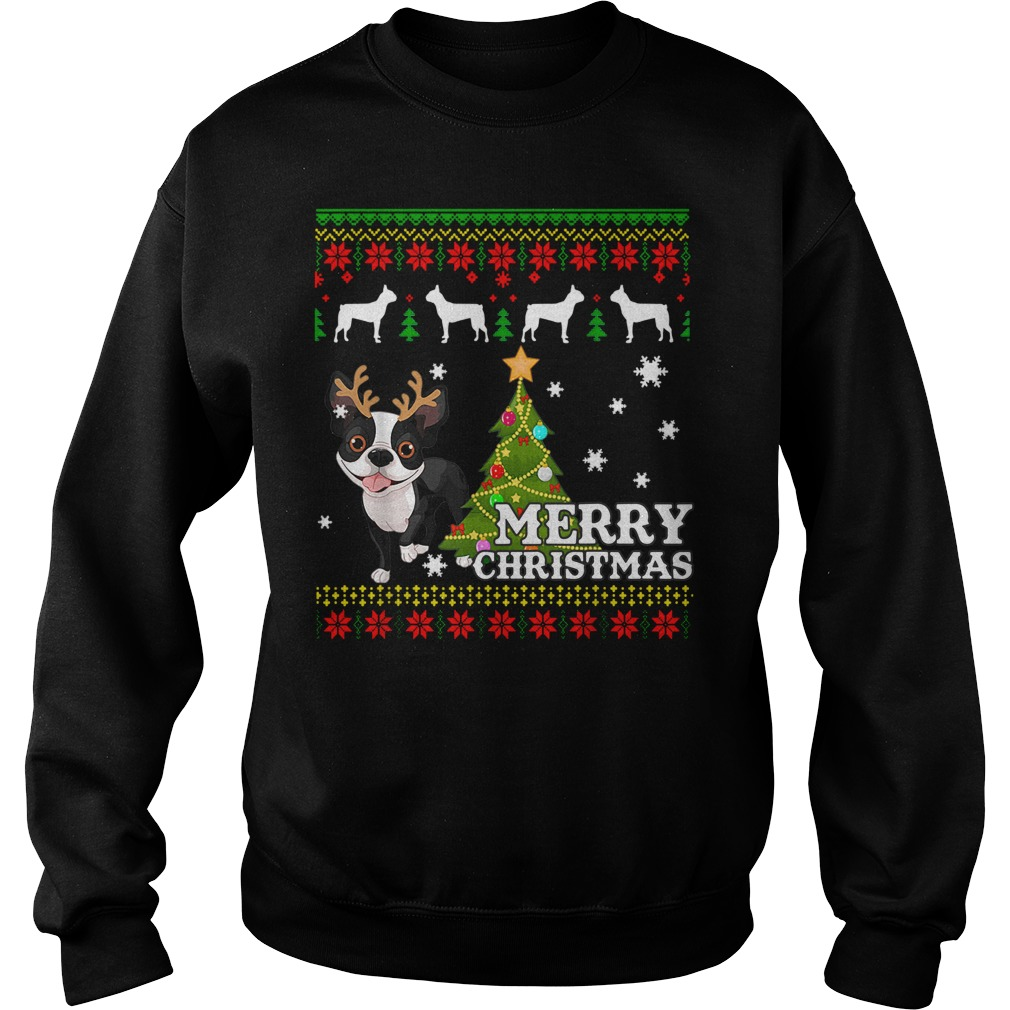 Boston Terrier Ugly Sweater Christmas Shirt sweater