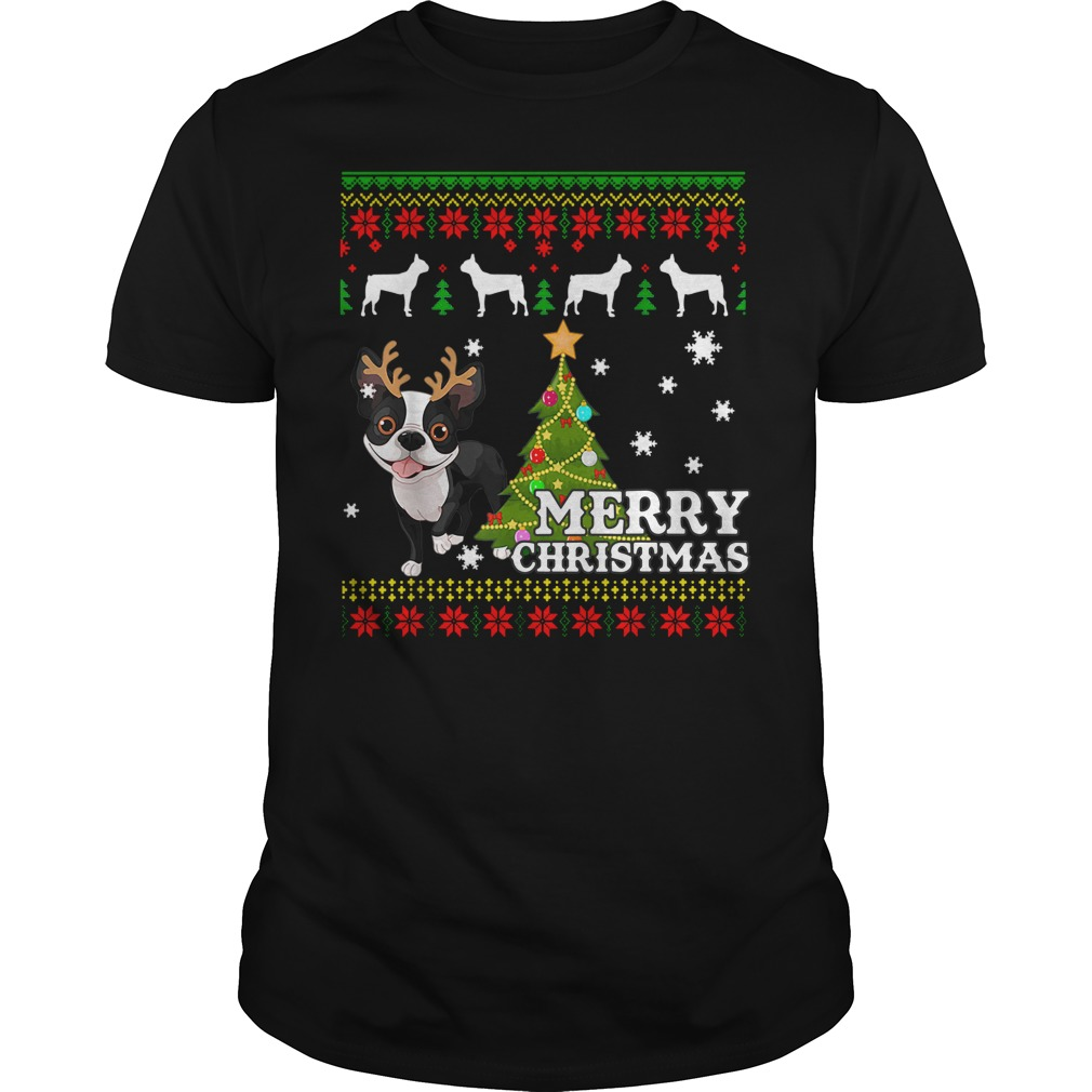 Boston Terrier Ugly Sweater Christmas Shirt