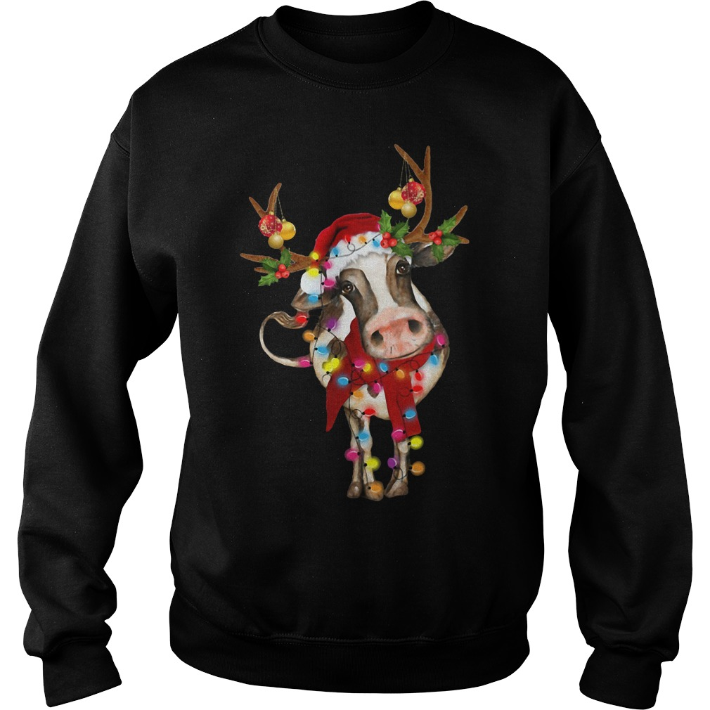 Cow Gorgeous Reindeer Light Christmas Shirt sweater