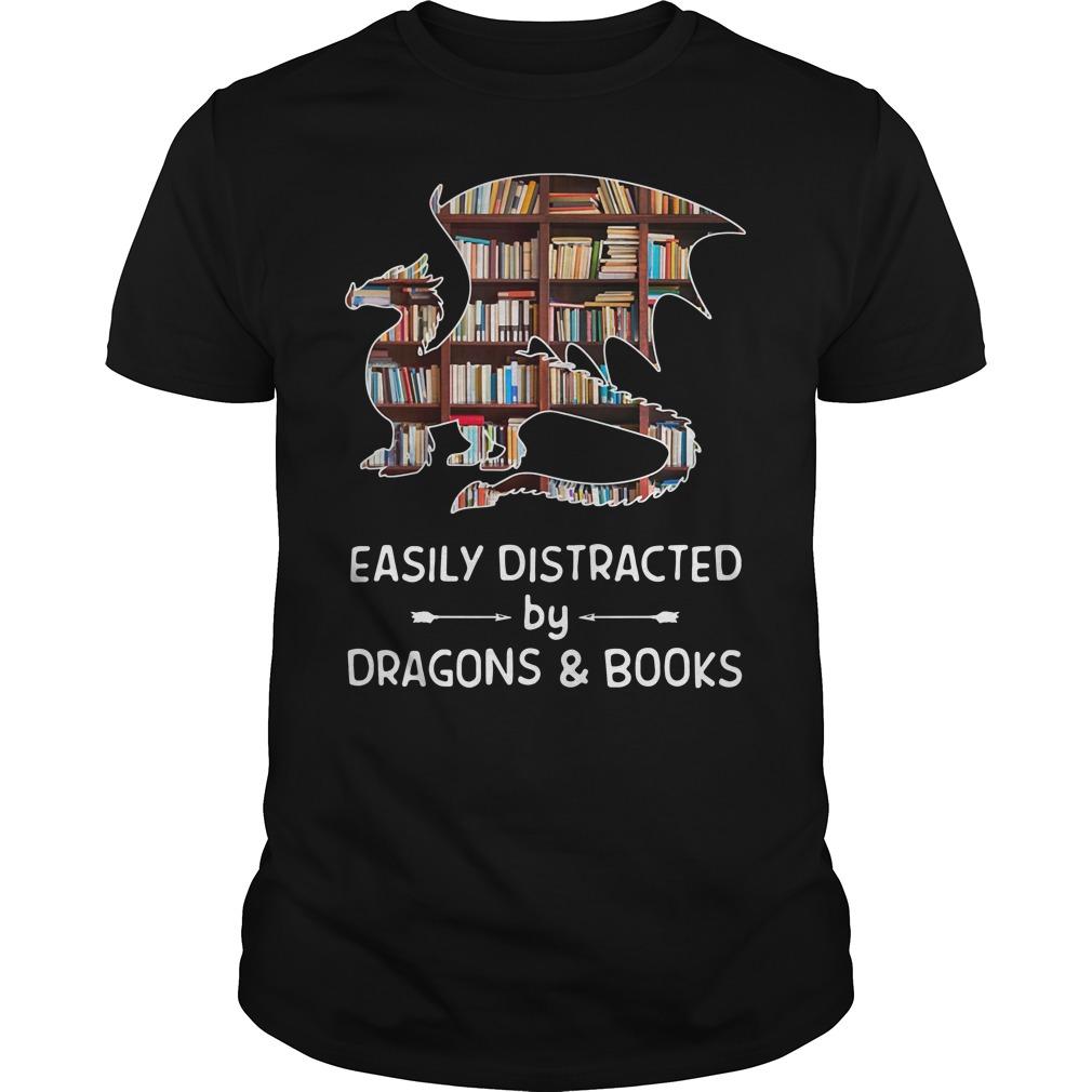 Dragon And Books Easily Distracted Shirt