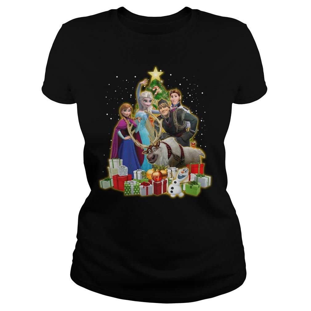 Frozen Characters Christmas Tree Shirt ladies tee