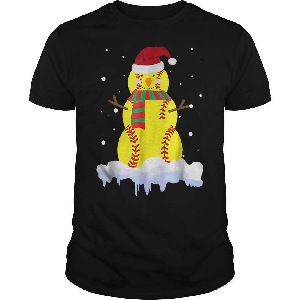 Official Snowman Scarf Heart Softball Santa Hat Snow Christmas Shirt