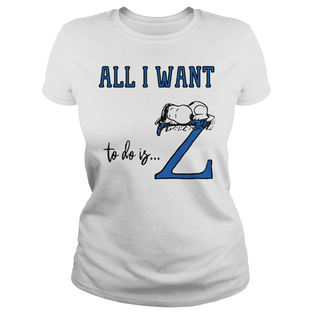Snoopy All Want To Do Is Z Peanuts Allergic To Mornings Pouch Shirt ladies tee