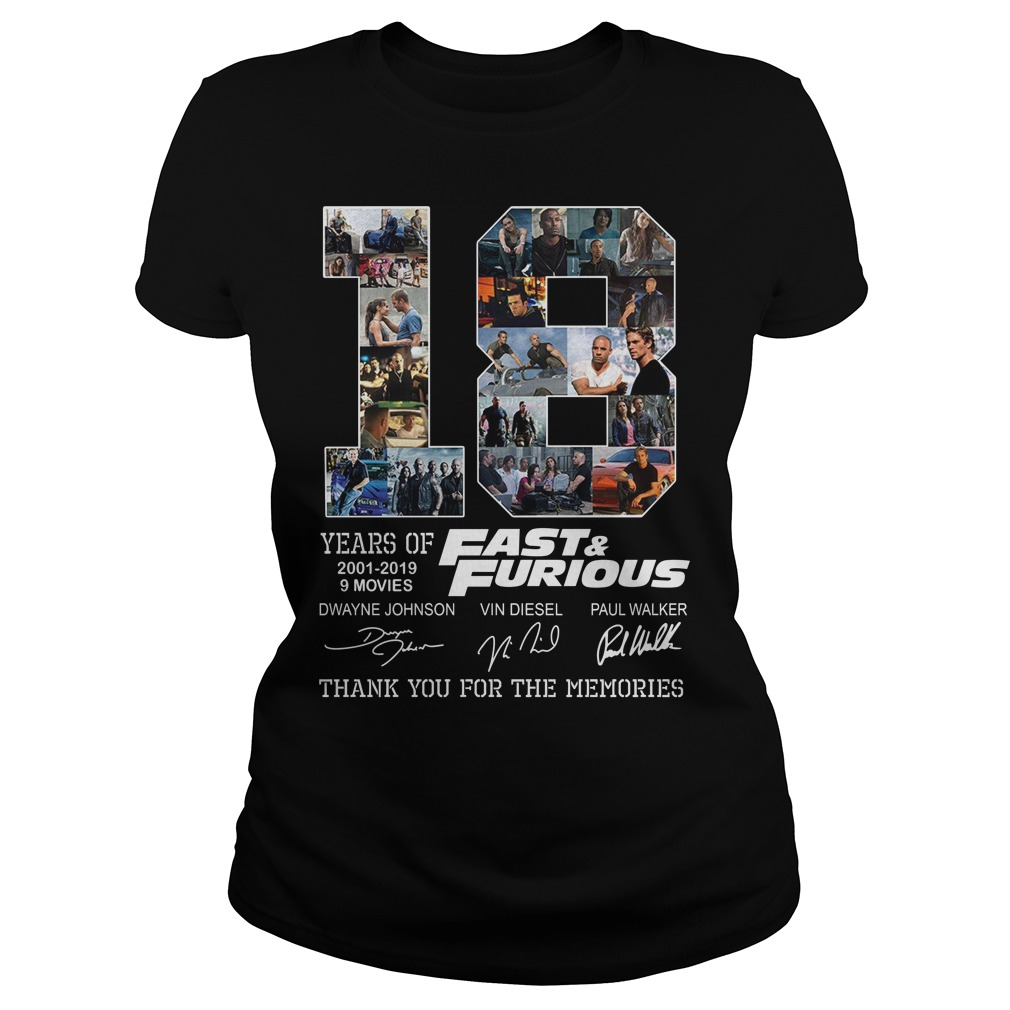 Fast And Furious 18 Years 9Movies Thank You For The Memories Shirt ladies tee