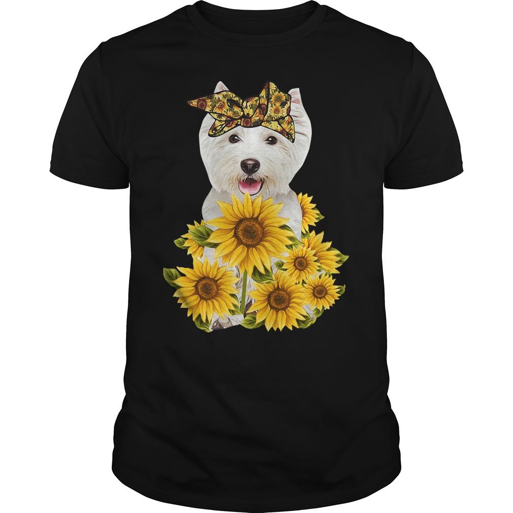 West Highland White Terrier Full Of Sunflowers Shirt