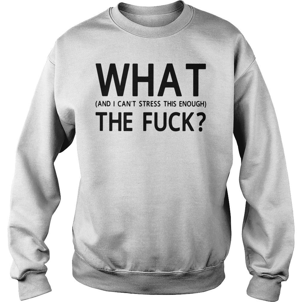 What And I Can't Stress This Enough The Fuck Shirt sweater