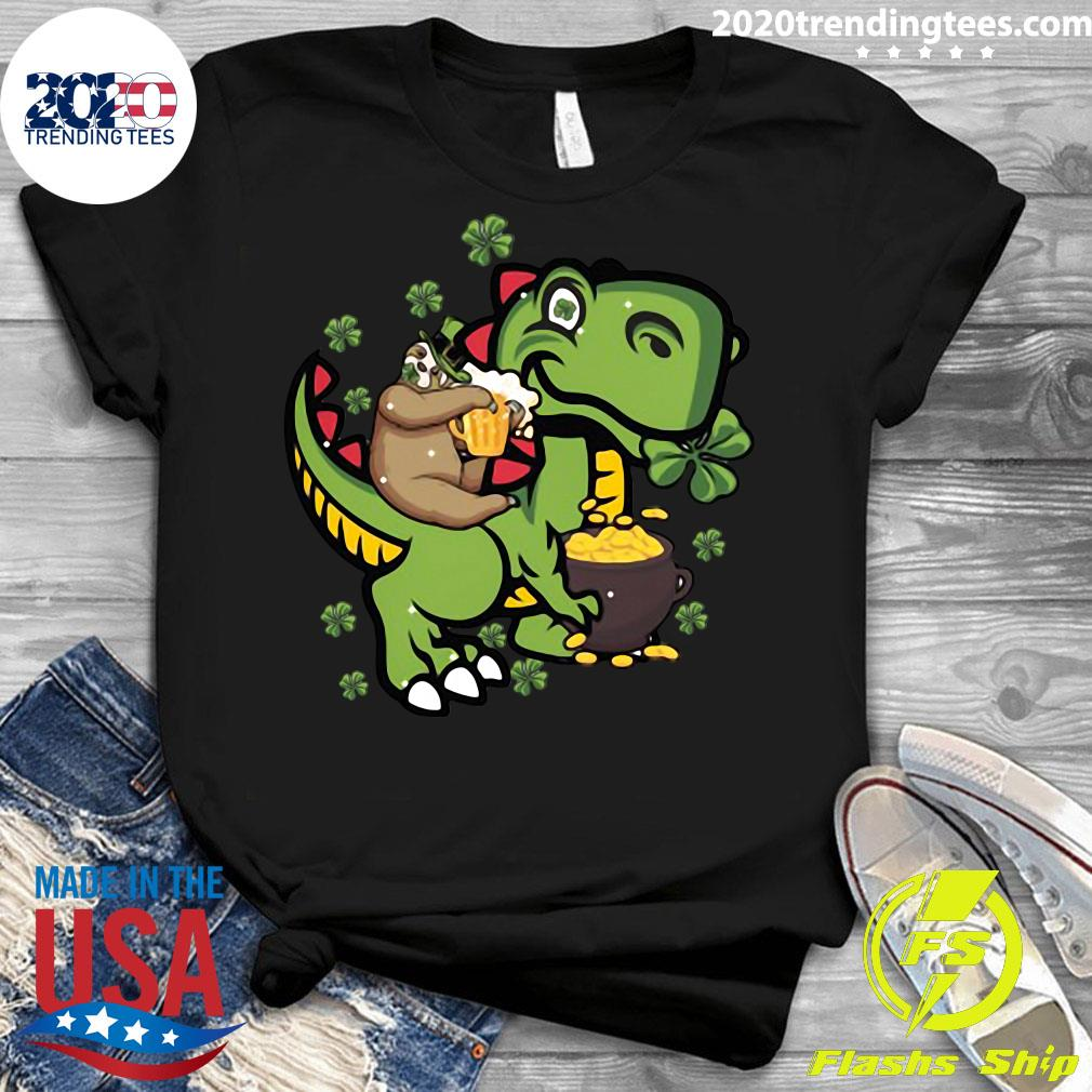 St Patrick's Day Sloth On A Trex Shirt Ladies tee