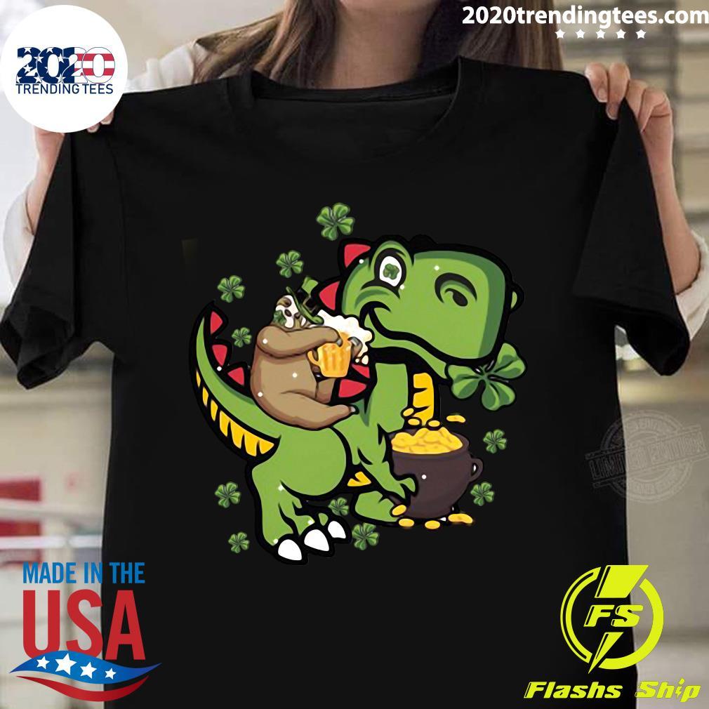 St Patrick's Day Sloth On A Trex Shirt