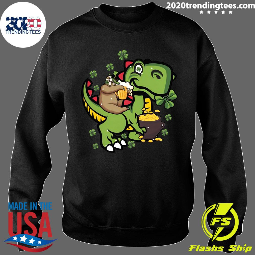 St Patrick's Day Sloth On A Trex Shirt Sweater