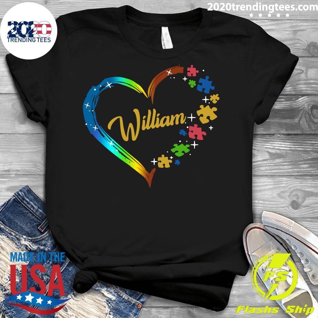 Autism Puzzle Heart Personalized Shirt Ladies tee
