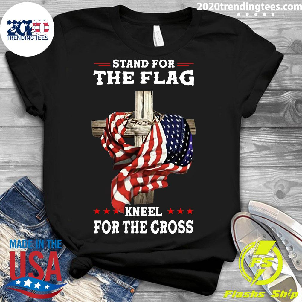 American Stand For The Flag Kneel Dot The Cross Shirt Ladies tee
