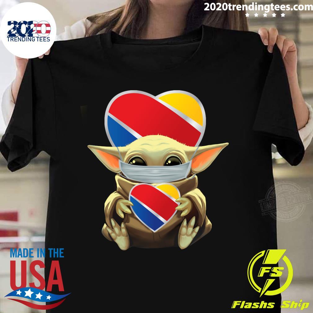 Baby Yoda Face Mask Southwest Airlines Shirt