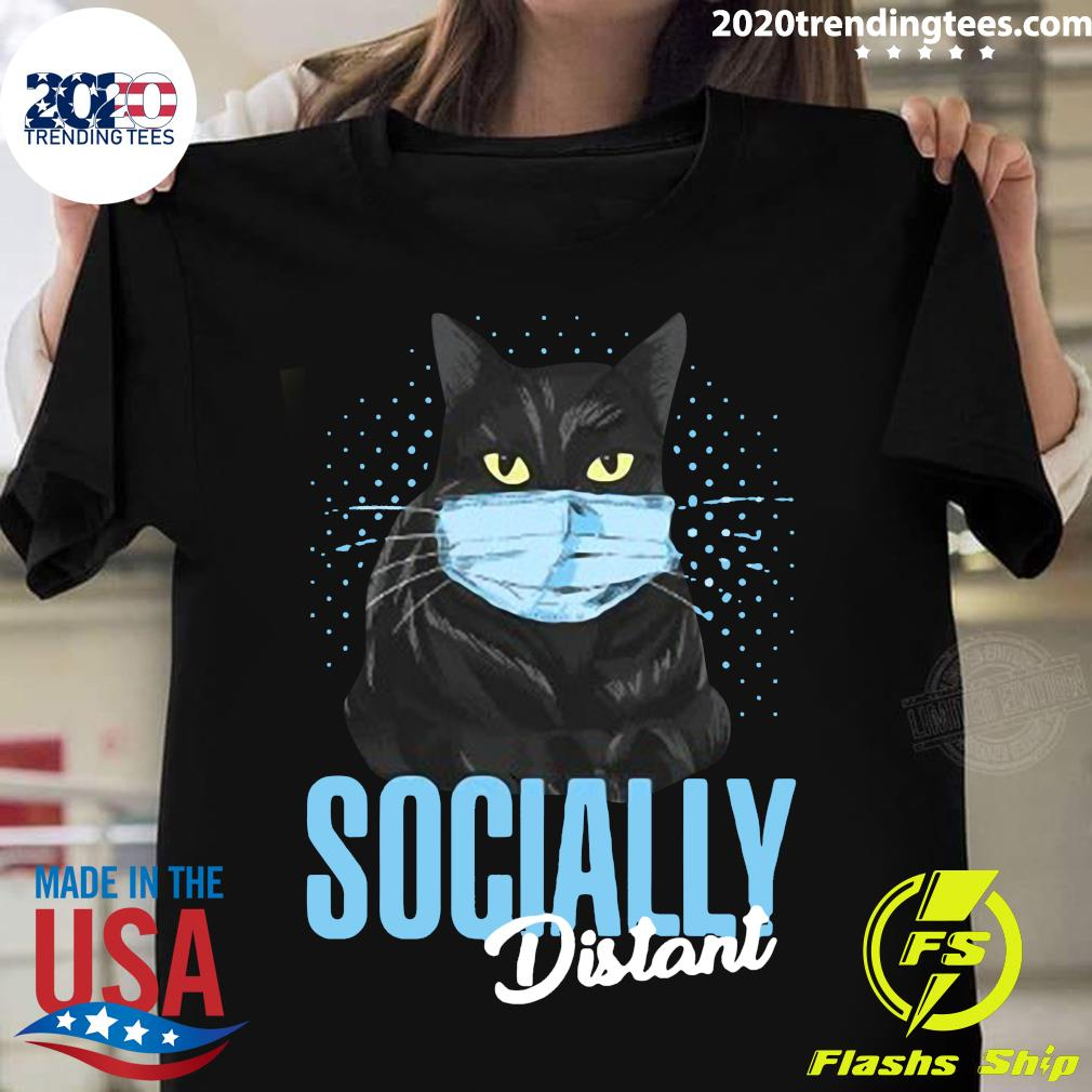 Black Cat Face Mask Socially Distant Shirt
