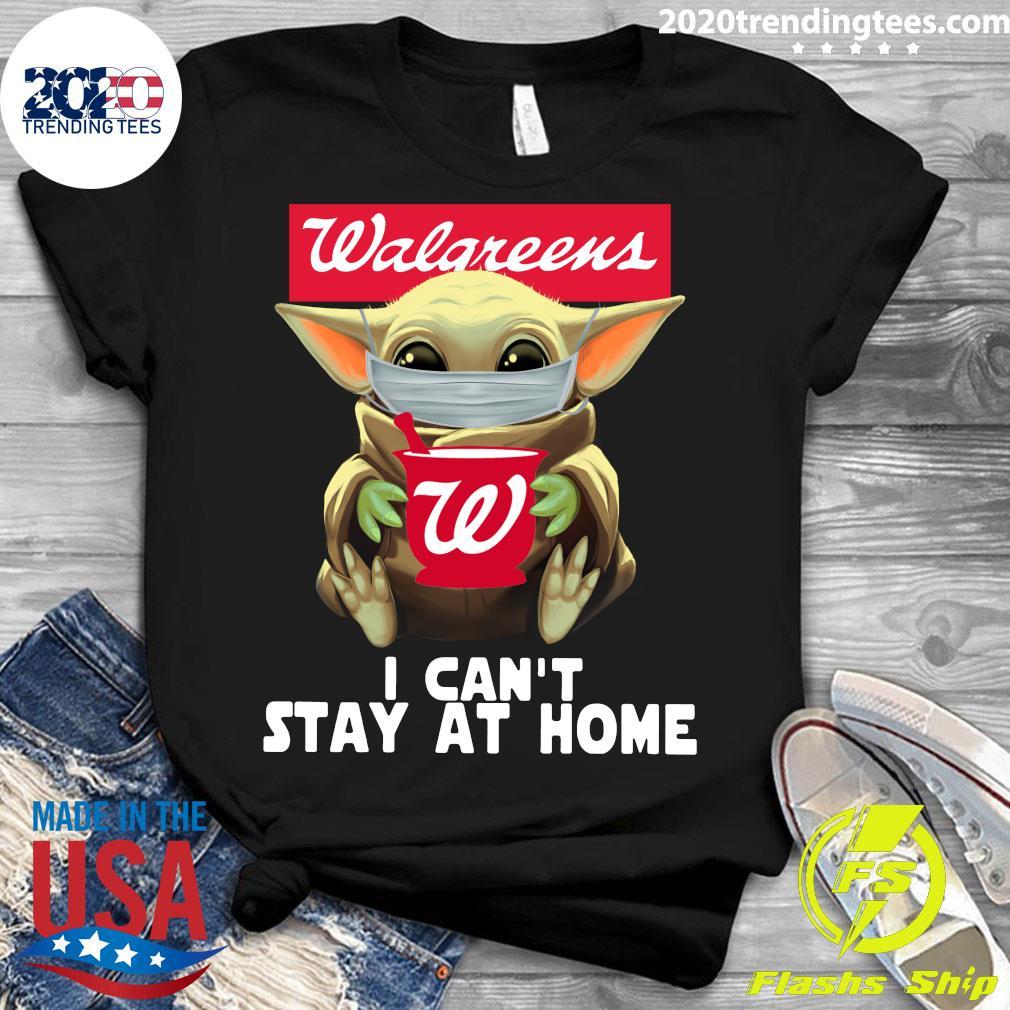 Star Wars Baby Yoda Face Mask Walgreens Can't Stay At Home Shirt Ladies tee