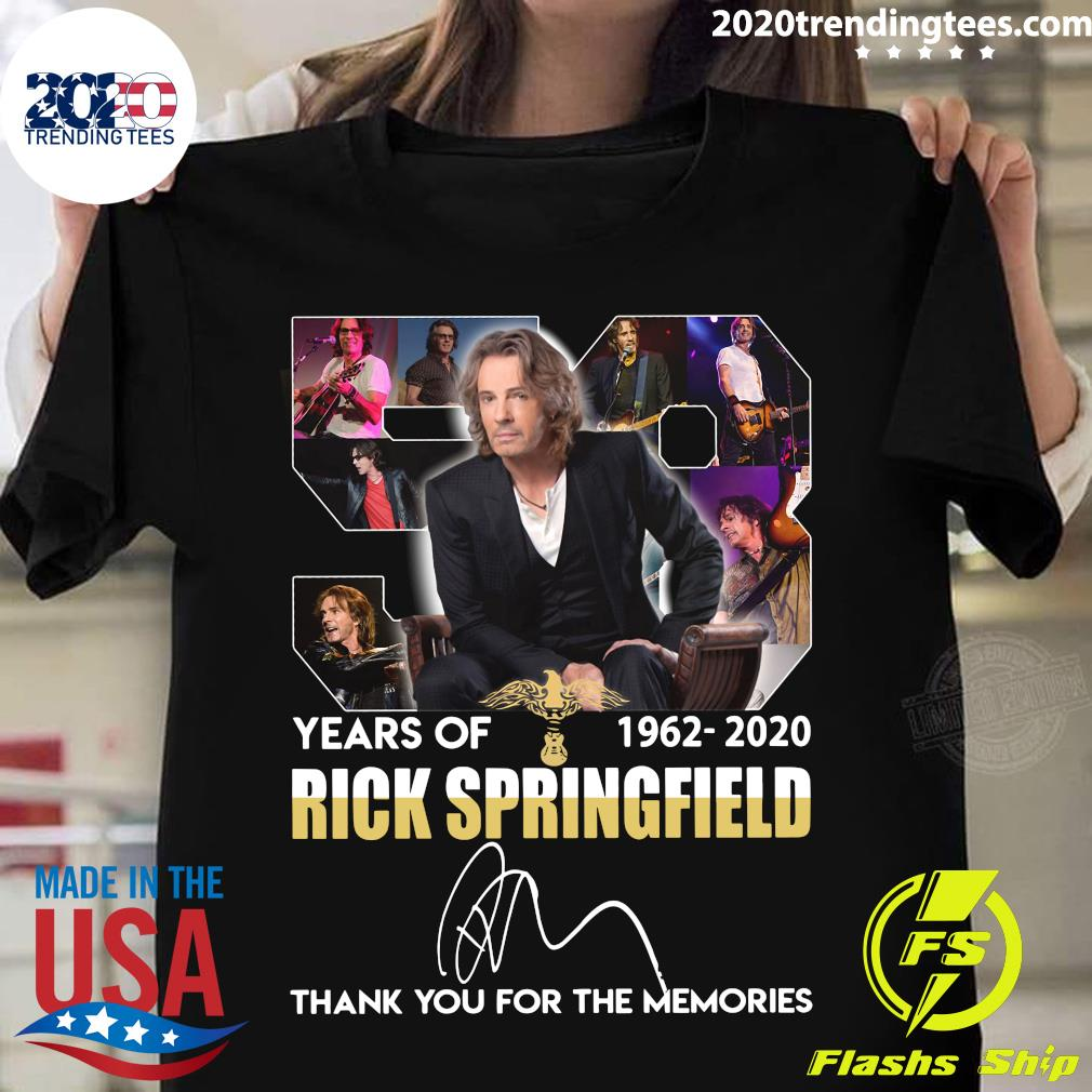 58 Years Of 1960 2020 Rick Springfield Signature Thank You For The Memories Shirt