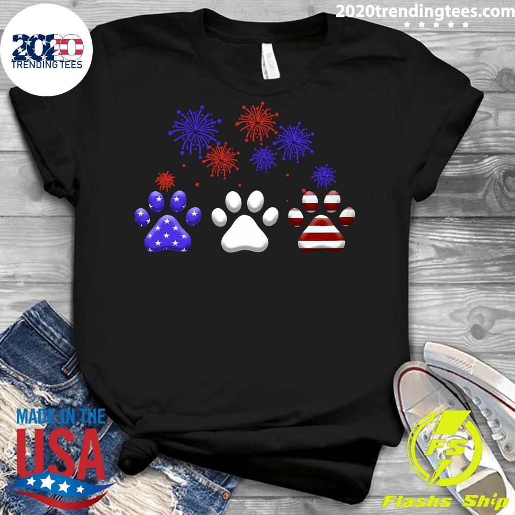 American Independence Day Paw Dog Shirt Ladies tee