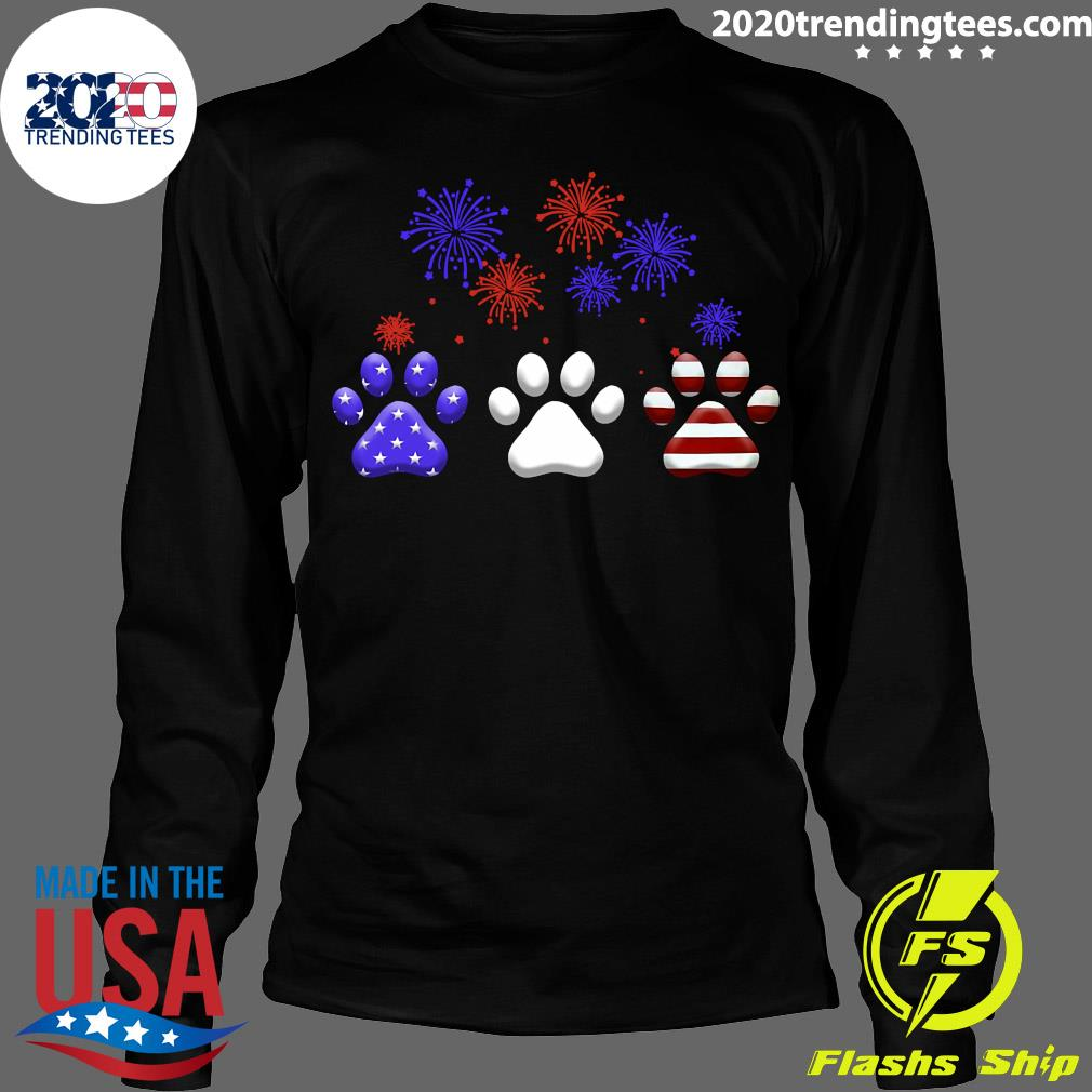 American Independence Day Paw Dog Shirt Longsleeve