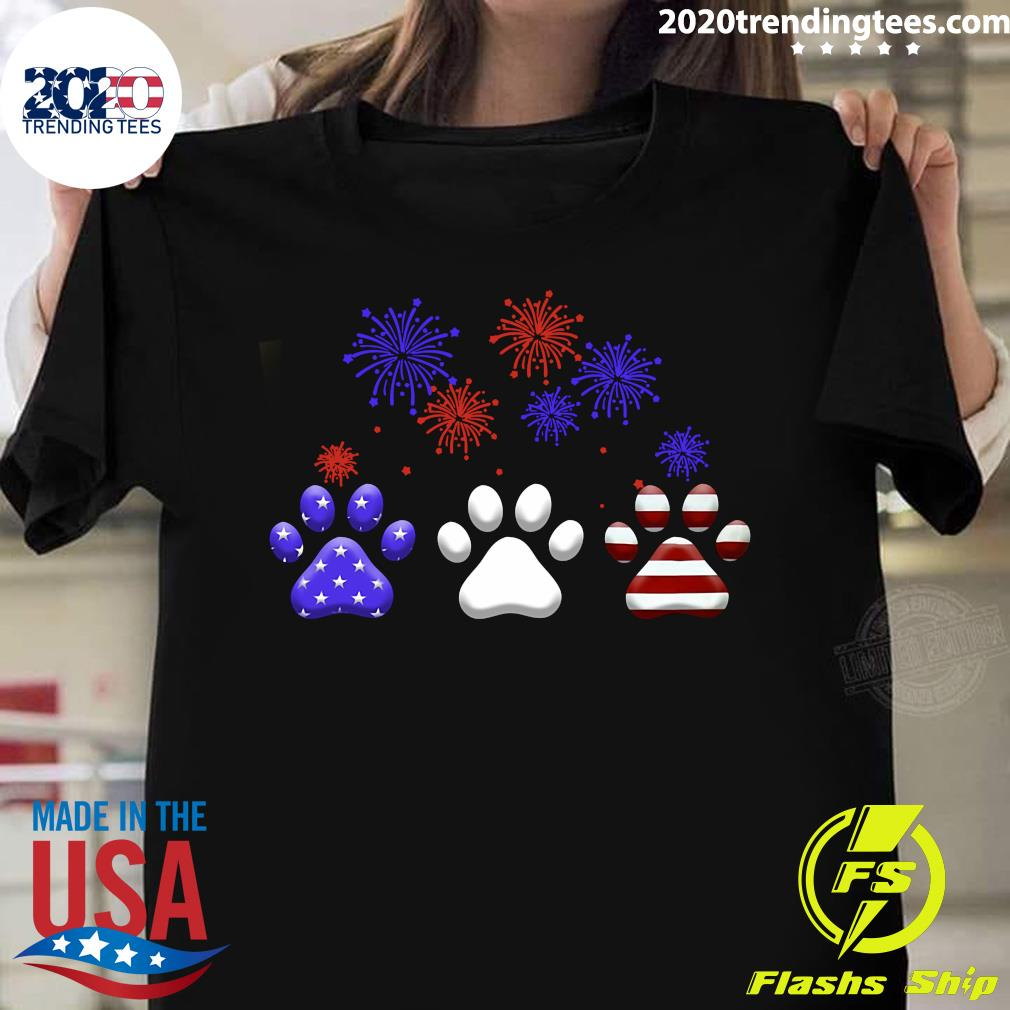 American Independence Day Paw Dog Shirt
