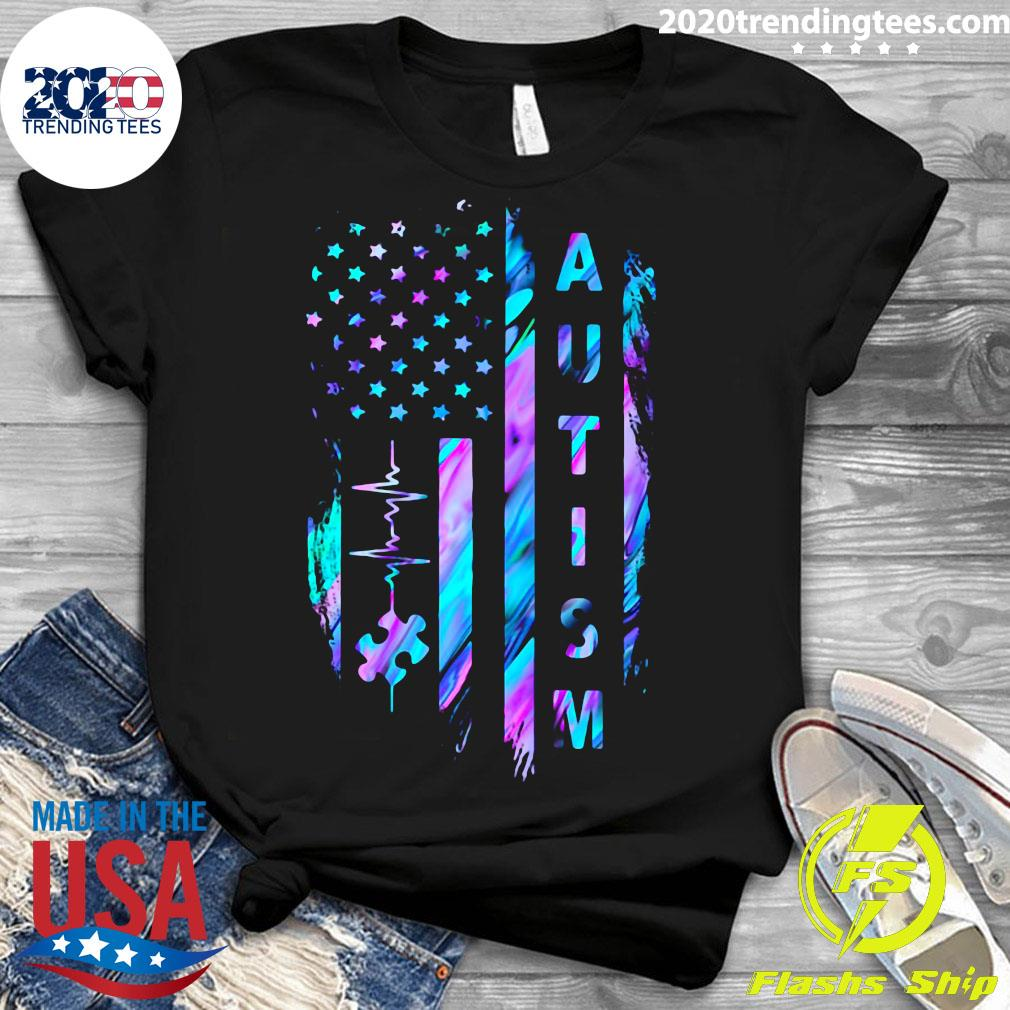 Autism Awareness American Flag Shirt Ladies tee
