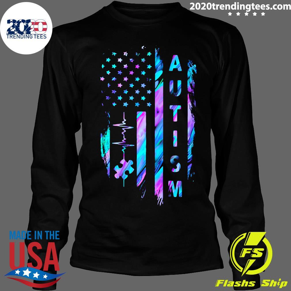 Autism Awareness American Flag Shirt Longsleeve