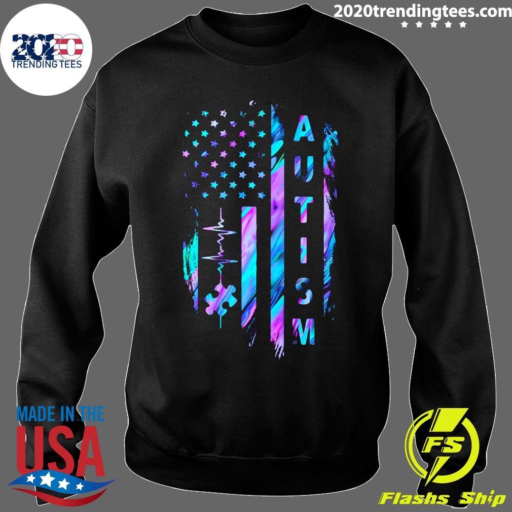 Autism Awareness American Flag Shirt Sweater