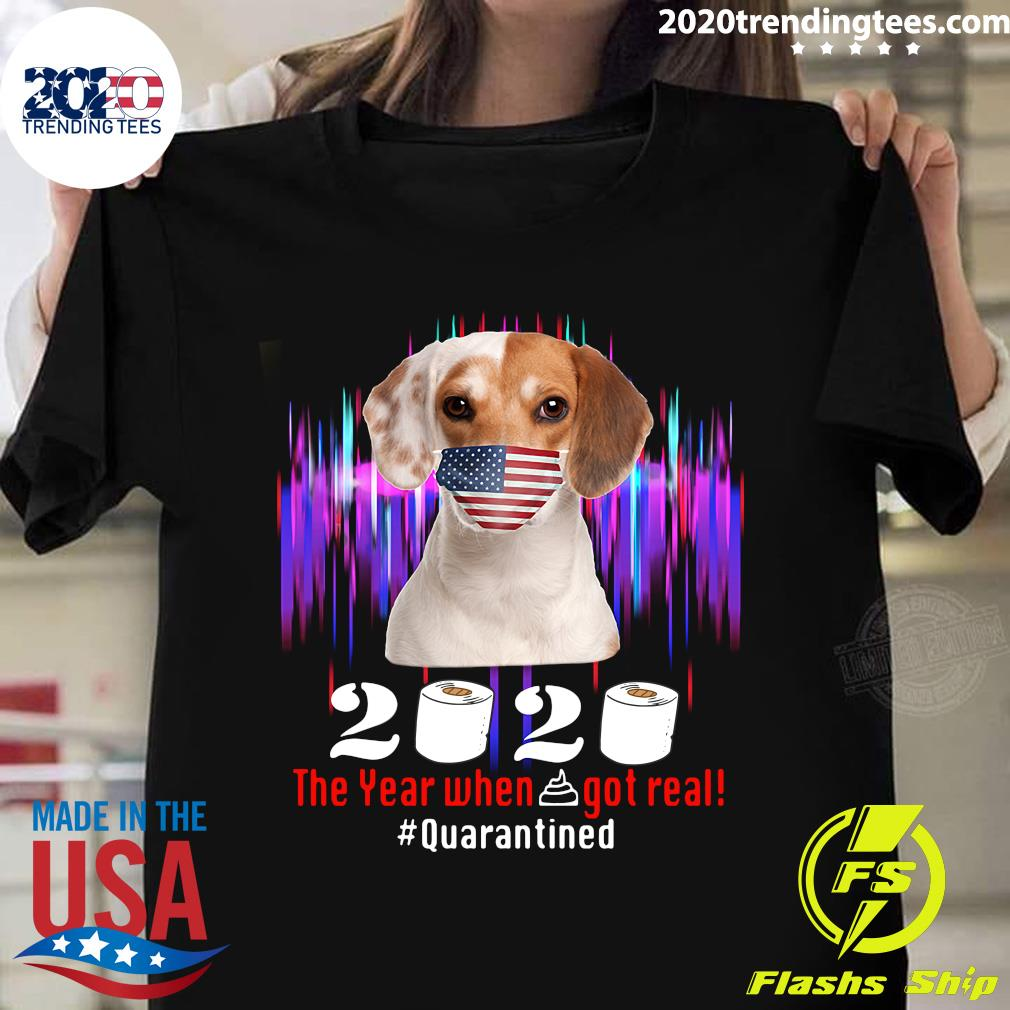 Beagle American Flag Face Mask 2020 The Year When Shit Got Real Quarantine Shirt
