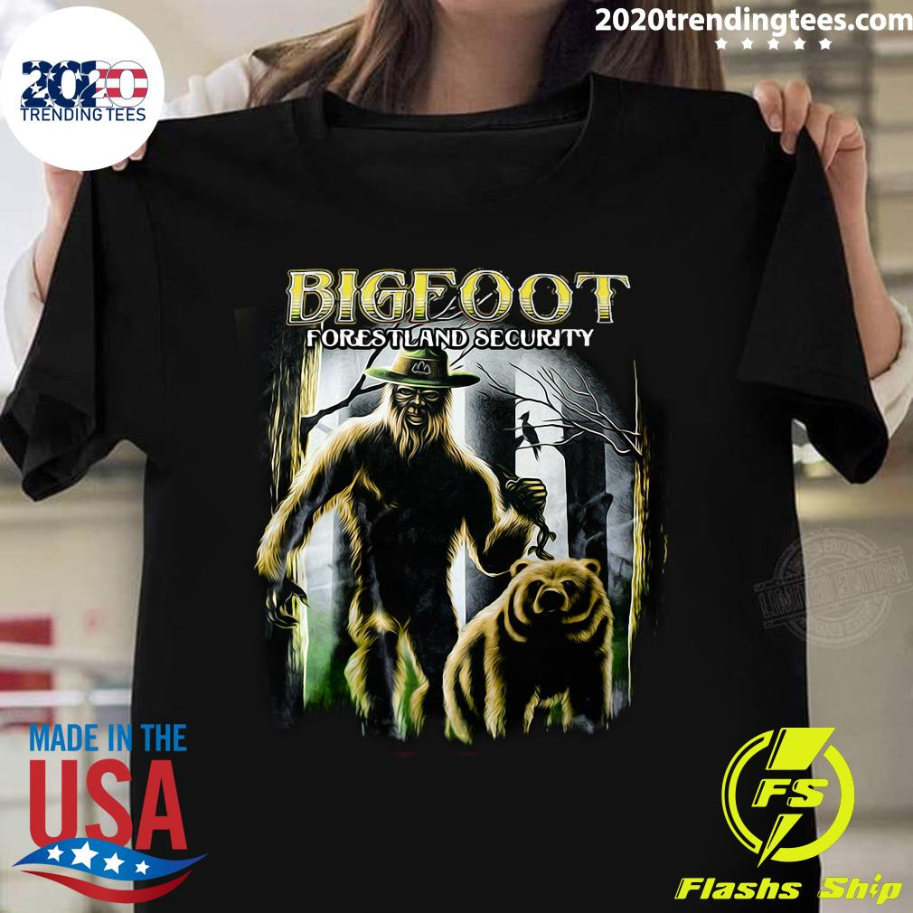 Bigfoot Forestland Security Bigfoot And Bear Version Shirt