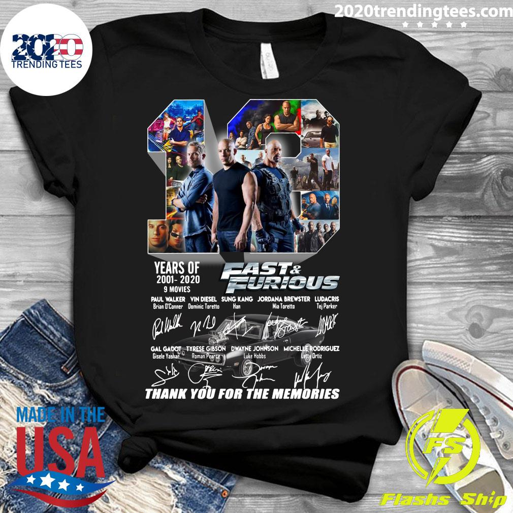 Fast And Furious 2001 2020 Thank You For The Memories Shirt Ladies tee