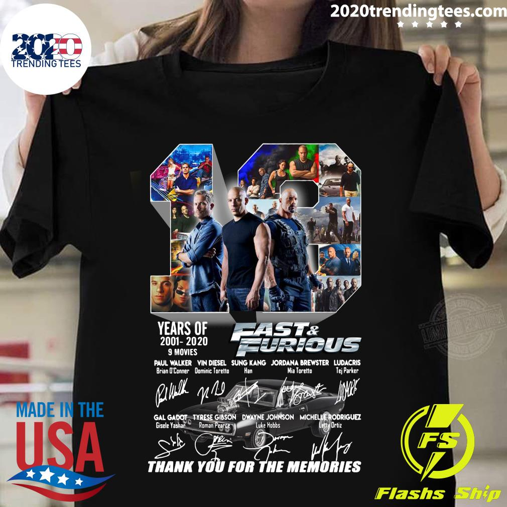Fast And Furious 2001 2020 Thank You For The Memories Shirt