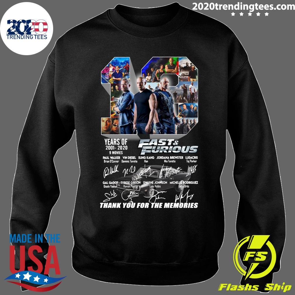 Fast And Furious 2001 2020 Thank You For The Memories Shirt Sweater