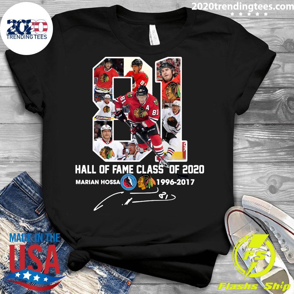 81 Hall Of Fame Class Of 2020 Marian Hossa Washington Redskins 1996 2017 Signature Shirt Ladies tee