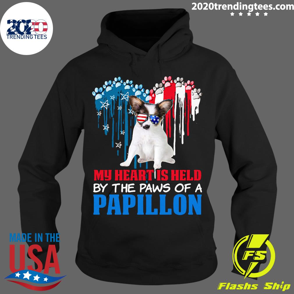 Heart Paw America My Heart Is Held By The Paws Of A Papillon Shirt Hoodie