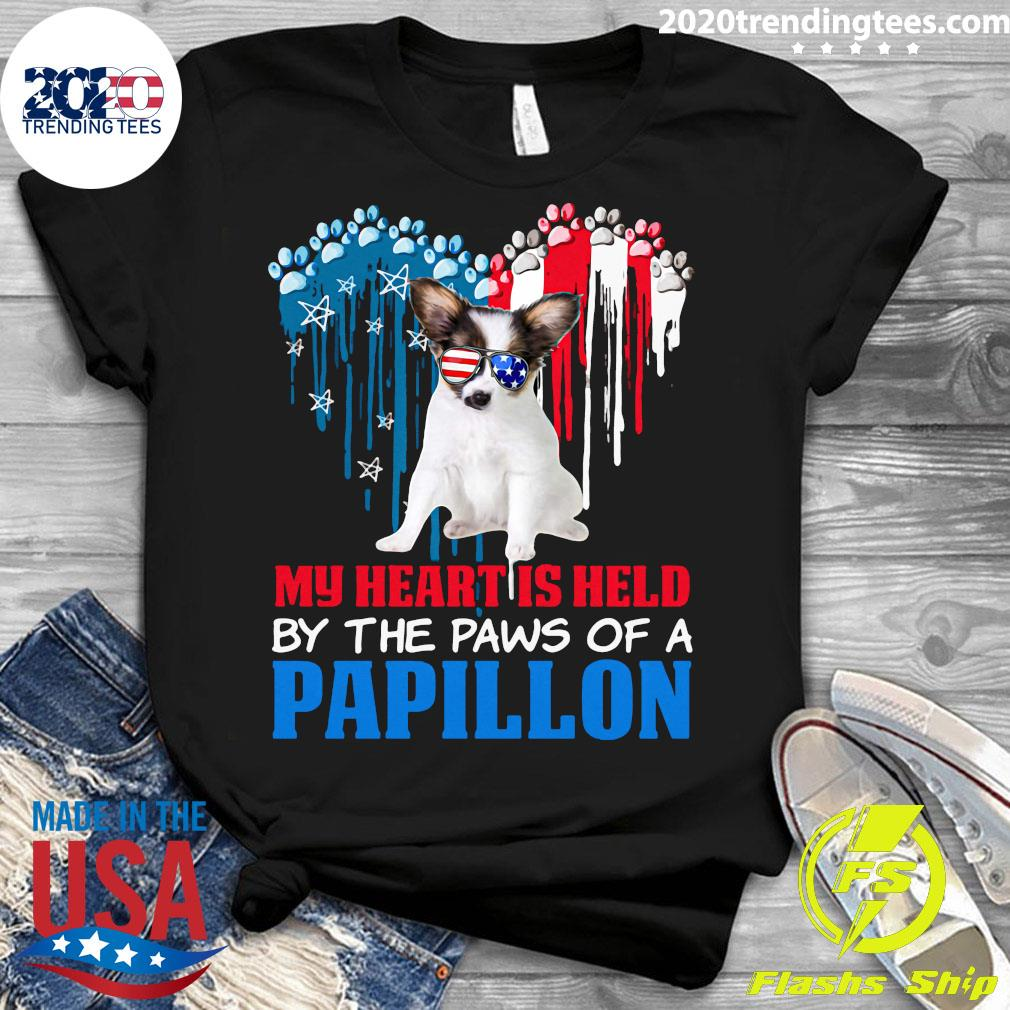 Heart Paw America My Heart Is Held By The Paws Of A Papillon Shirt Ladies tee