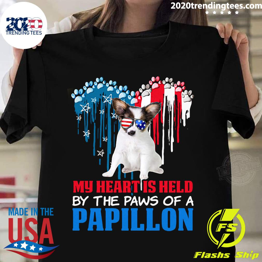Heart Paw America My Heart Is Held By The Paws Of A Papillon Shirt