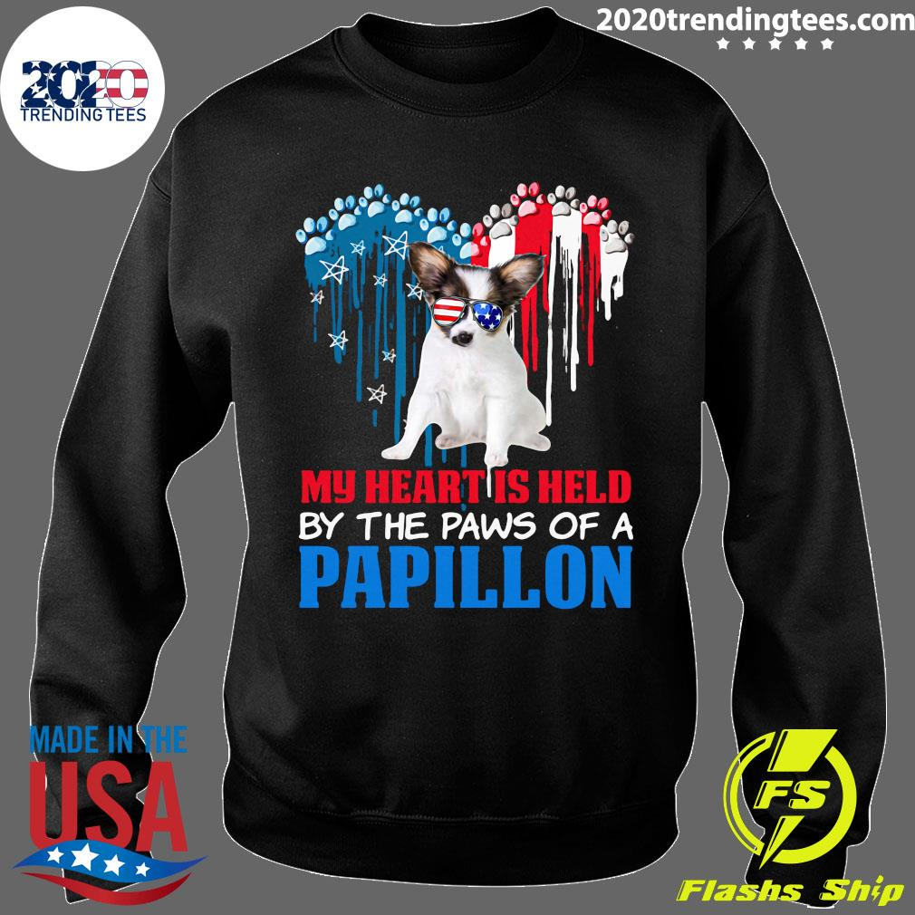 Heart Paw America My Heart Is Held By The Paws Of A Papillon Shirt Sweater