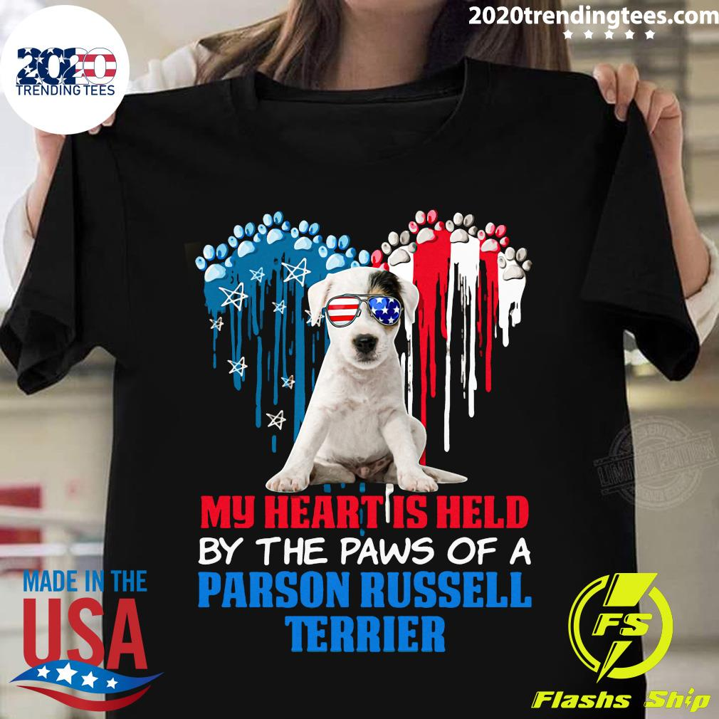 Heart Paw America My Heart Is Held By The Paws Of A Parson Russell Terrier Shirt