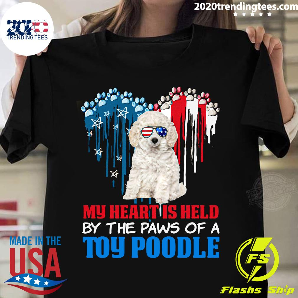 Heart Paw America My Heart Is Held By The Paws Of A Toy Poodle Shirt