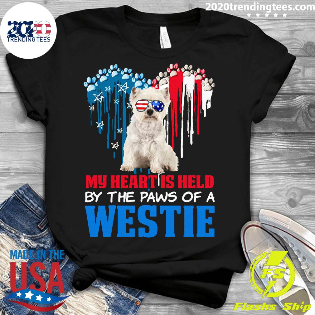 Heart Paw America My Heart Is Held By The Paws Of A Toy Westie Shirt Ladies tee