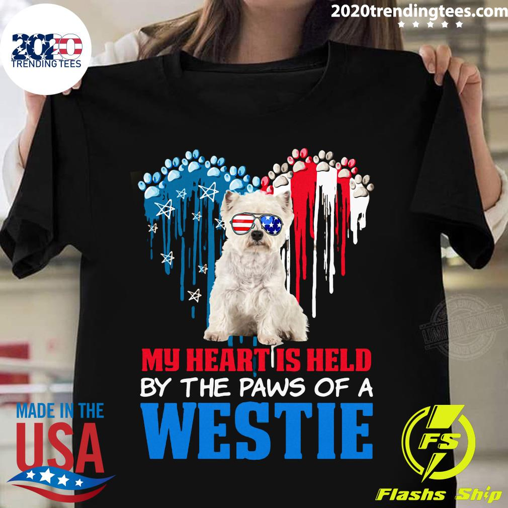 Heart Paw America My Heart Is Held By The Paws Of A Toy Westie Shirt