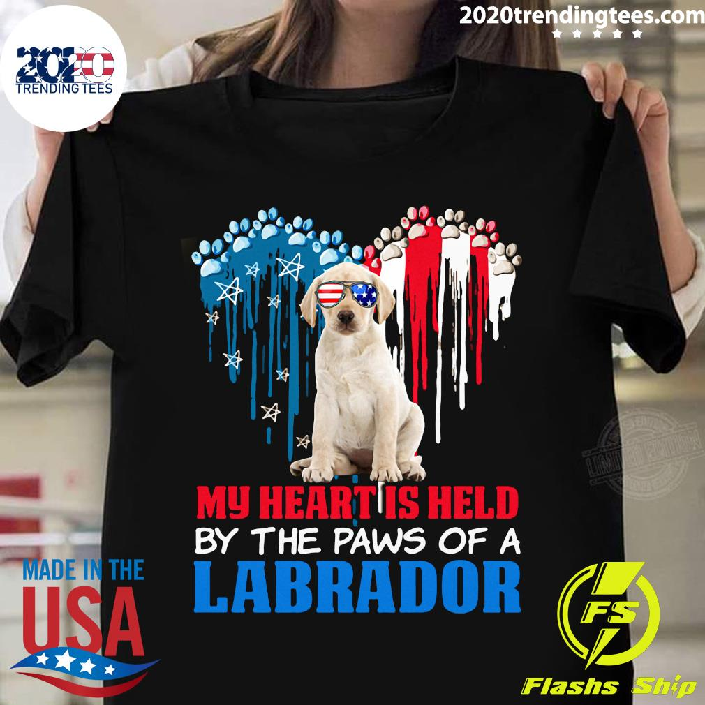 Heart Paw America My Heart Is Held By The Paws Of A Yellow Labrador Shirt