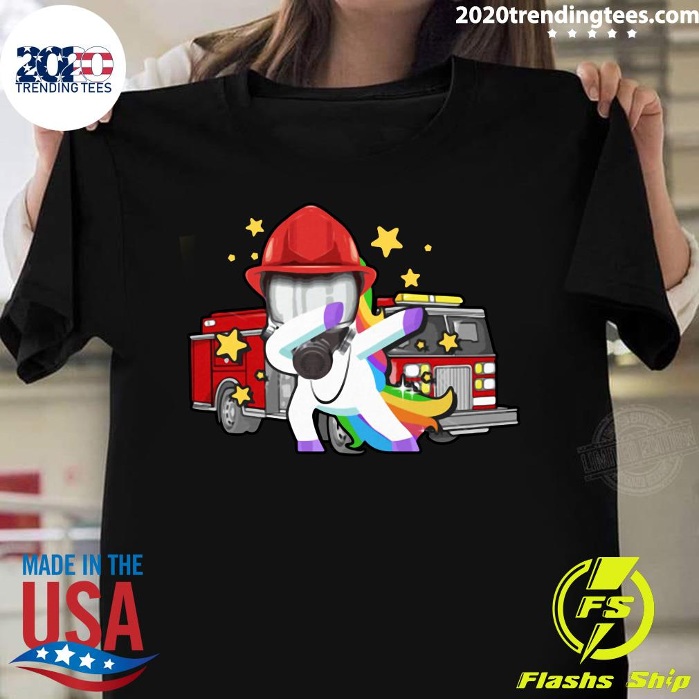 Firefighter Dabbing Unicorn Funny Tee Gi Shirt