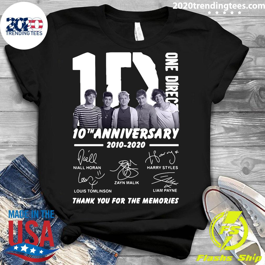 One Direction 10th Anniversary 2010 2020 Thank You For The Memories Signatures s Ladies tee