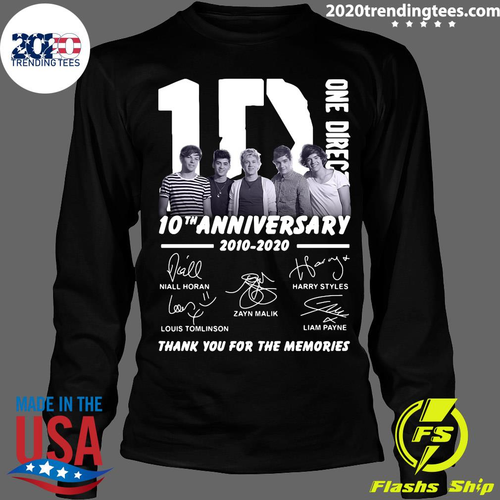 One Direction 10th Anniversary 2010 2020 Thank You For The Memories Signatures s Longsleeve